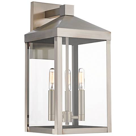 "Nyack 17 1/2"" High Brushed Nickel Outdoor Wall Light"