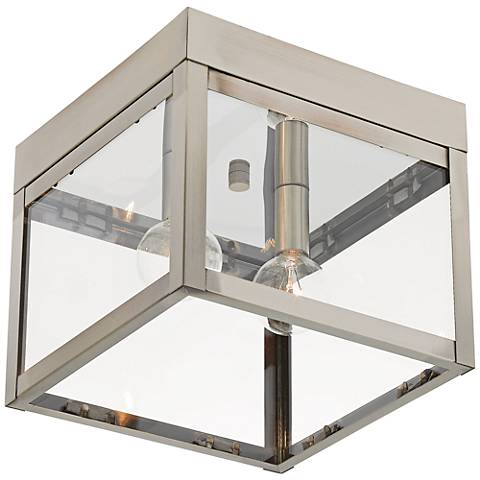 "Nyack 8"" Wide Brushed Nickel Outdoor Ceiling Light"