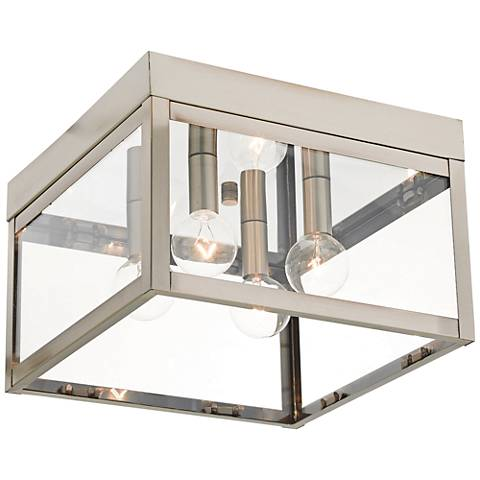 "Nyack 10 1/2"" Wide Brushed Nickel Outdoor Ceiling Light"