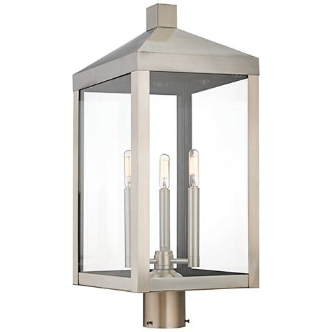 "Nyack 24"" High Brushed Nickel Outdoor Post Light"