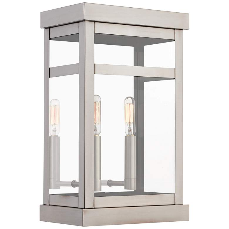 """Hopewell 15"""" High Brushed Nickel 2-Light Outdoor Wall Light"""