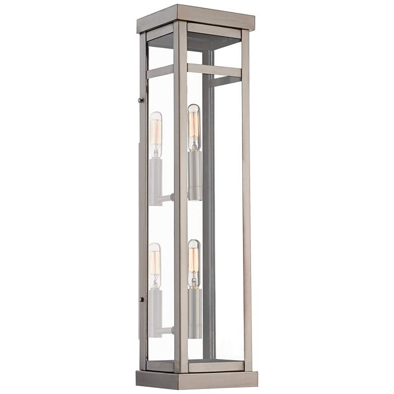 """Hopewell 22"""" High Brushed Nickel 2-Light Outdoor Wall Light"""