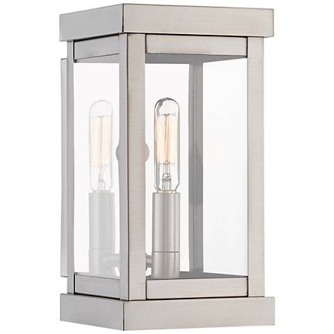 "Hopewell 9"" High Brushed Nickel Outdoor Wall Light"