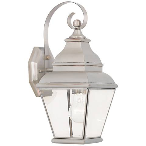"Exeter 15 1/2"" High Brushed Nickel Outdoor Wall Light"