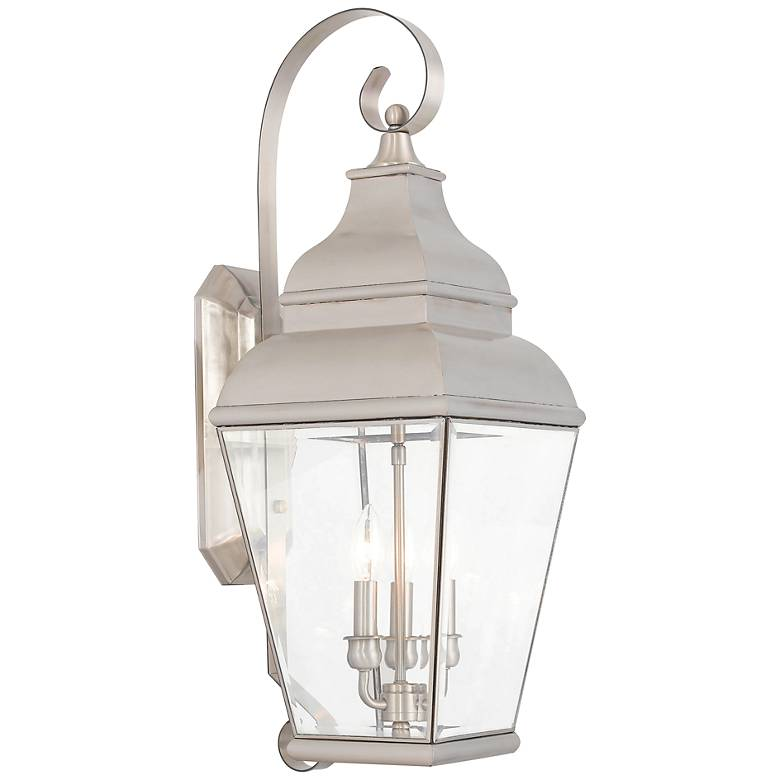 """Exeter 28"""" High Brushed Nickel Outdoor Wall Light"""