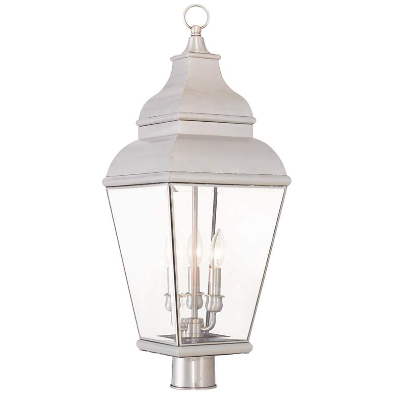 """Exeter 28 1/4"""" High Brushed Nickel Outdoor Post Light"""