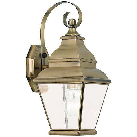 """Exeter 15 1/2"""" High Antique Brass Outdoor Wall Light"""
