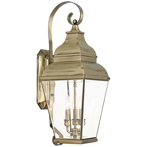 """Exeter 28"""" High Antique Brass 3-Light Outdoor Wall Light"""