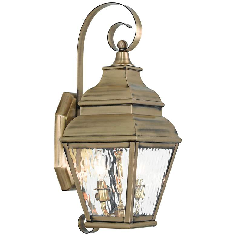 """Exeter 21 1/2"""" High Brass and Water Glass Outdoor Wall Light"""