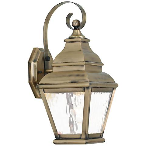 """Exeter 15 1/2"""" High Brass and Water Glass Outdoor Wall Light"""