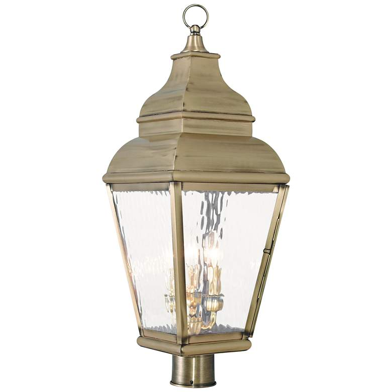"""Exeter 28 1/4"""" High Brass and Water Glass Outdoor Post Light"""