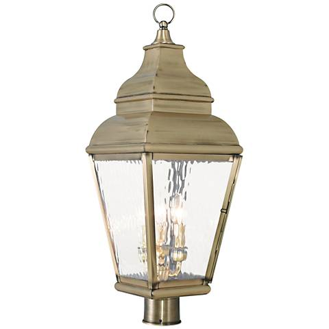 "Exeter 28 1/4"" High Brass and Water Glass Outdoor Post Light"