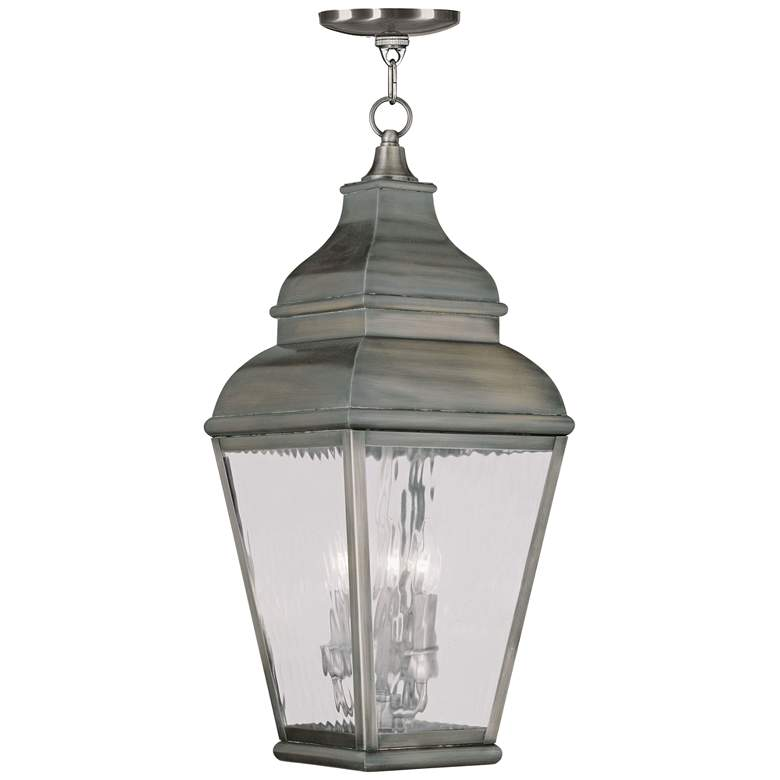 """Exeter 25"""" High Bronze and Water Glass Outdoor Hanging Light"""