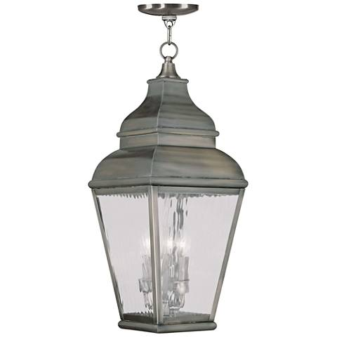 "Exeter 25"" High Bronze and Water Glass Outdoor Hanging Light"
