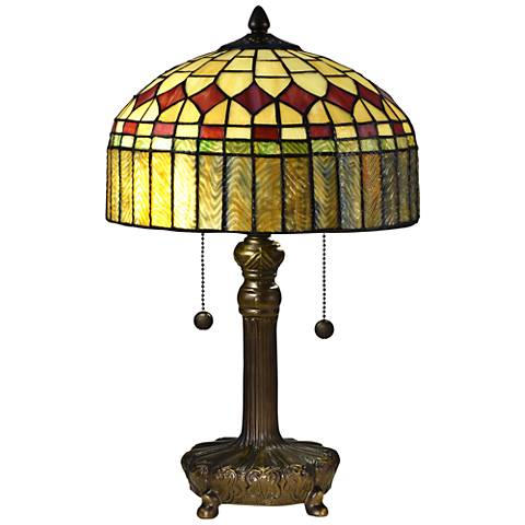 "Mayor Island 19 1/2""H Bronze Tiffany-Style Accent Table Lamp"