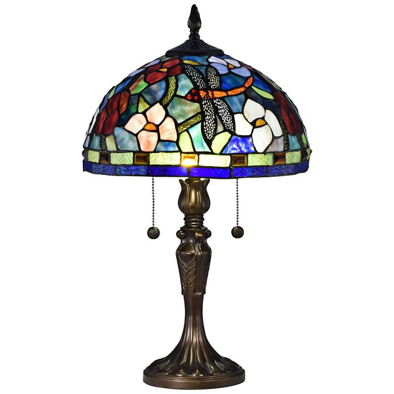 Westport Antique Bronze Tiffany-Style Accent Table Lamp