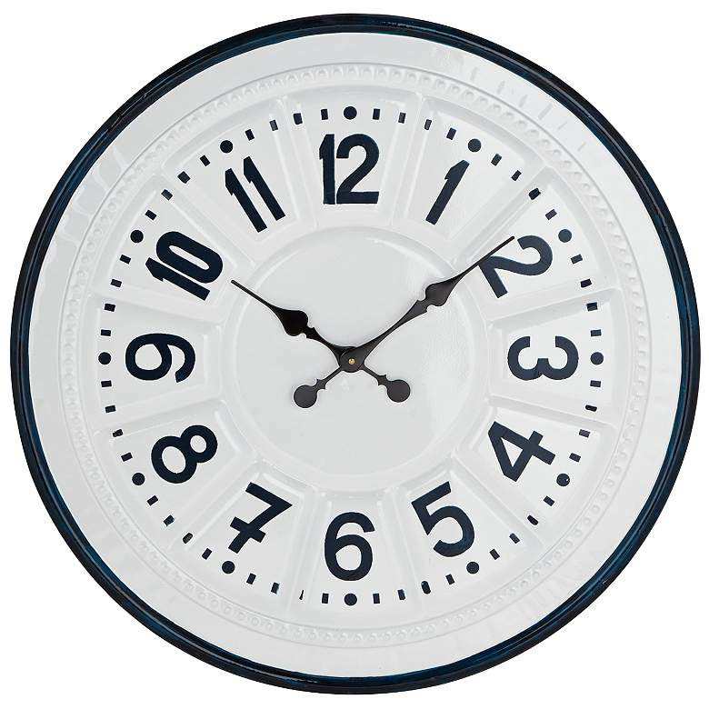 "Modern Round Blue and White 27"" H Iron Wall Clock"