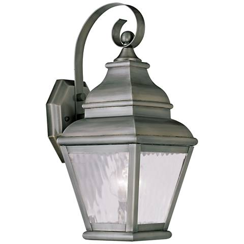 "Exeter 14 1/2"" High Vintage Pewter Outdoor Wall Light"