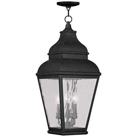 """Exeter 25"""" High Vintage Pewter Outdoor Hanging Light"""