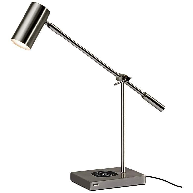 Collette Brushed Steel Charge LED Desk Lamp with USB Port