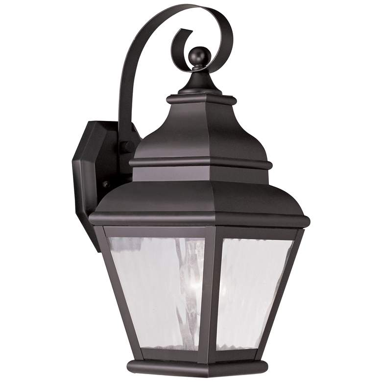 """Exeter 14 1/2""""H Bronze and Water Glass Outdoor Wall Light"""