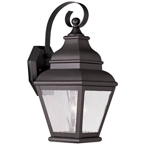 "Exeter 14 1/2""H Bronze and Water Glass Outdoor Wall Light"