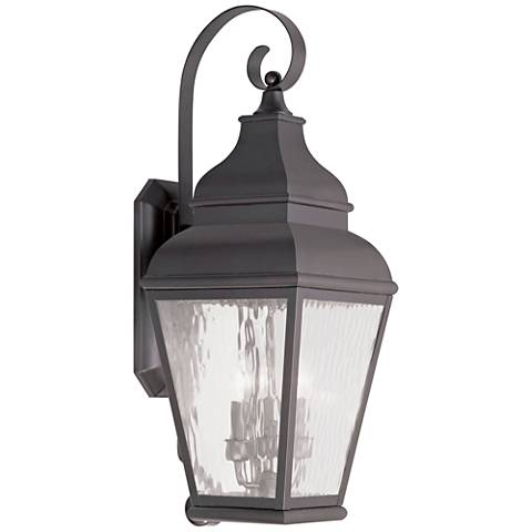 """Exeter 29"""" High Bronze and Water Glass Outdoor Wall Light"""