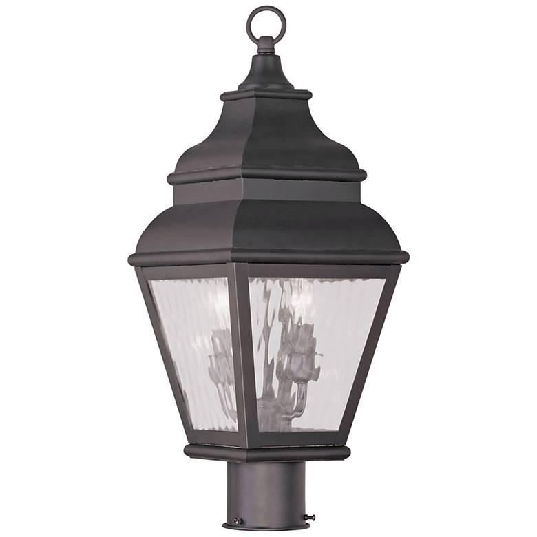 """Exeter 20 1/2""""H Bronze and Water Glass Outdoor Post Light"""