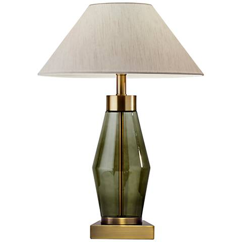 Murphy Green Glass and Brass Accent Table Lamp