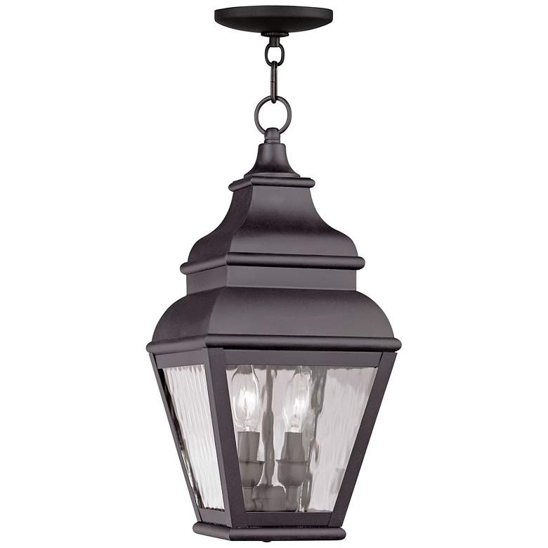 """Exeter 19"""" High Bronze and Water Glass Outdoor Hanging Light"""