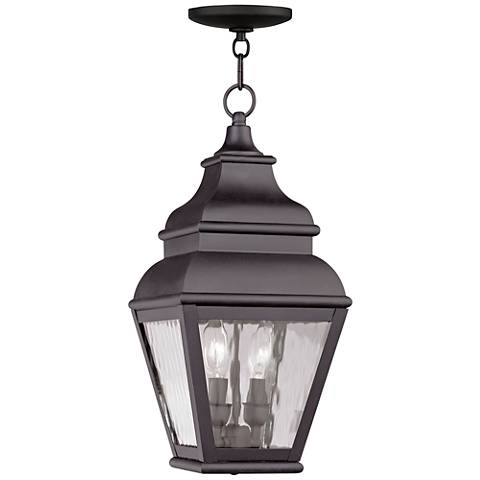 "Exeter 19"" High Bronze and Water Glass Outdoor Hanging Light"