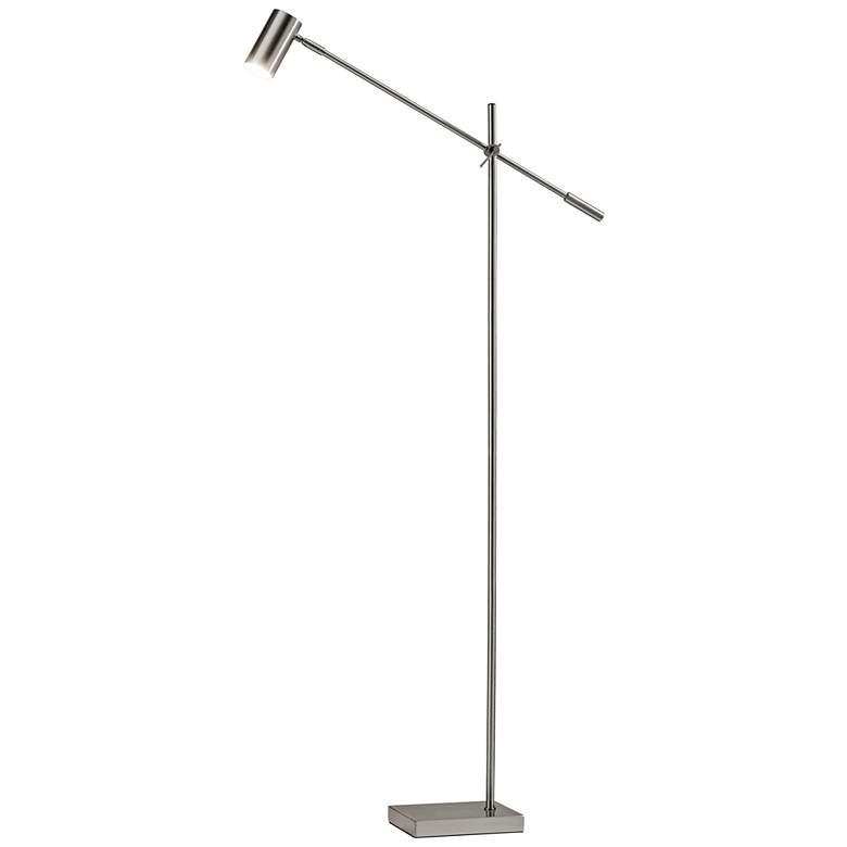 Collette Brushed Steel Adjustable Modern LED Floor Lamp
