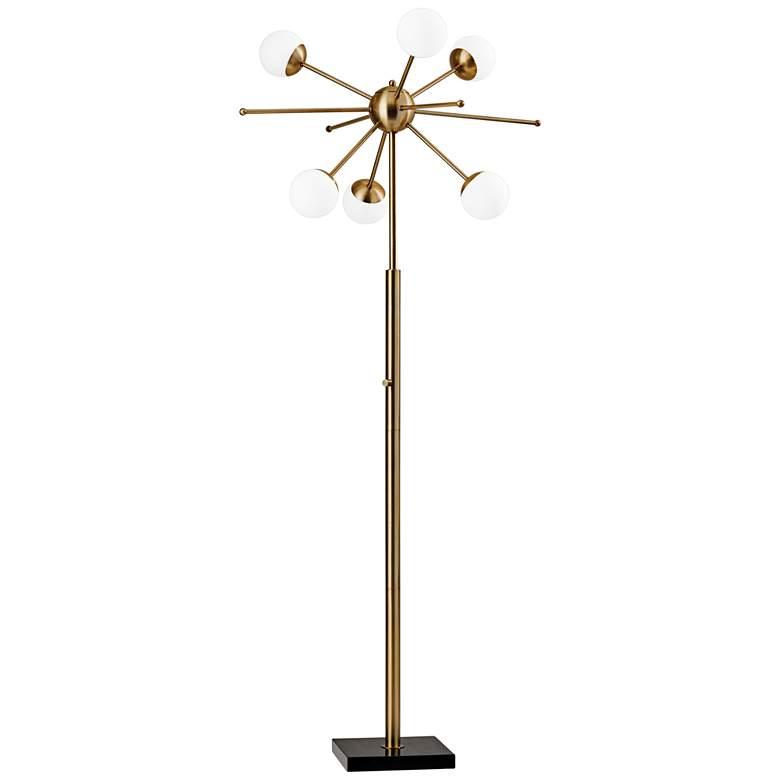 Doppler Antique Brass LED Sputnik Floor Lamp