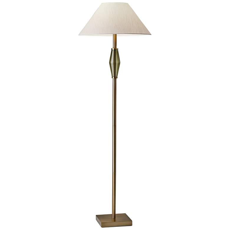 Murphy Brass and Green Glass Floor Lamp