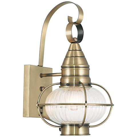 "Newburyport 14 3/4""H Antique Brass Outdoor Wall Light"
