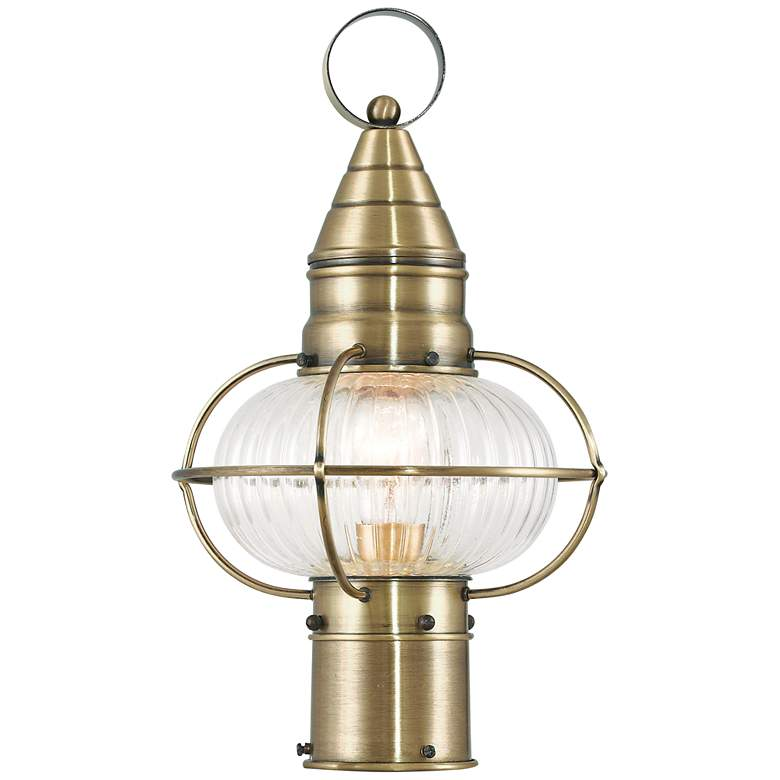 """Newburyport 15"""" High Antique Brass Outdoor Post Light"""