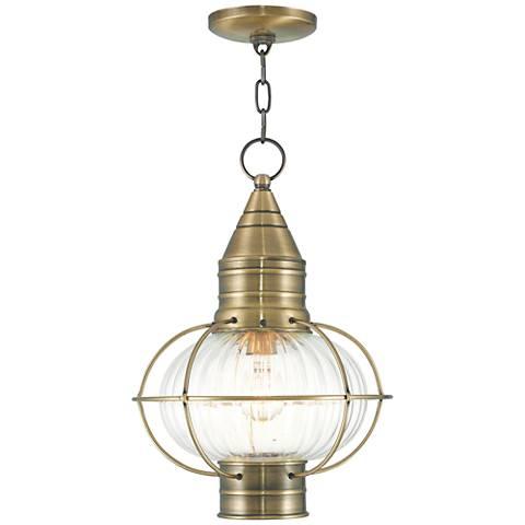 "Newburyport 16 3/4"" High Antique Brass Outdoor Hanging Light"