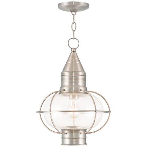 "Newburyport 16 3/4""H Brushed Nickel Outdoor Hanging Light"