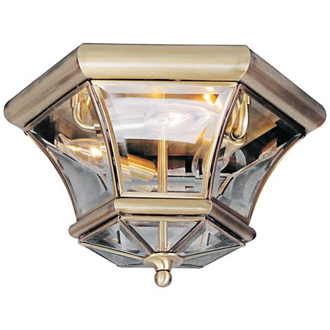 "Monterey 12 1/2"" Wide Antique Brass Outdoor Ceiling Light"