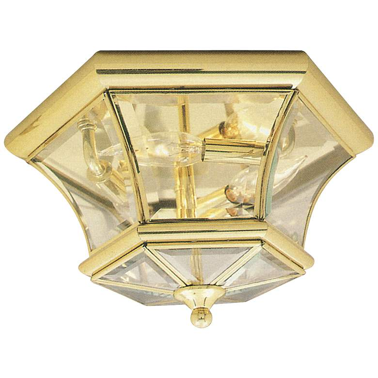 """Monterey 12 1/2"""" Wide Polished Brass Outdoor Ceiling Light"""