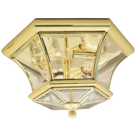 "Monterey 12 1/2"" Wide Polished Brass Outdoor Ceiling Light"