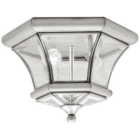 """Monterey 10 1/2""""W Nickel Outdoor Ceiling Light"""