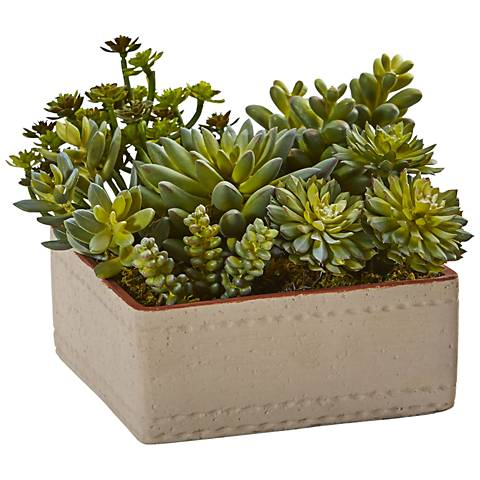 """Green Mixed Succulents 8""""W Faux Plant in Decorative Planter"""