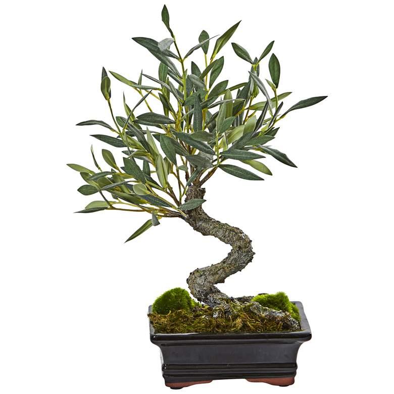 "Green Mini Olive Bonsai 13""H Faux Plant in"