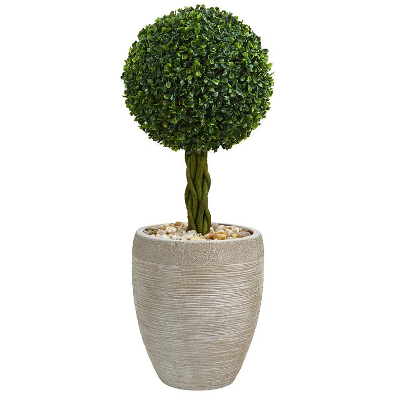"Green Boxwood Ball Topiary 30""H Faux Plant in Oval Planter"