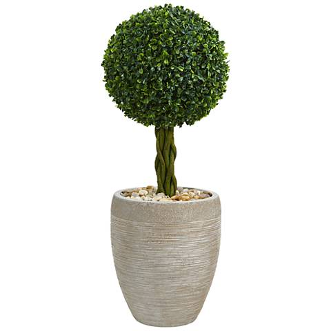 """Green Boxwood Ball Topiary 30""""H Faux Plant in Oval Planter"""