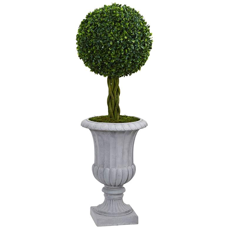 """Green Braided Boxwood Topiary 36""""H Faux Plant in Gray Urn"""