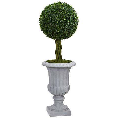 "Green Braided Boxwood Topiary 36""H Faux Plant in Gray Urn"