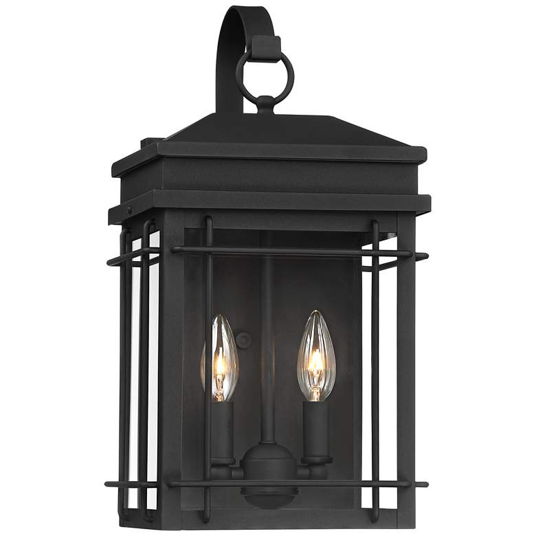 """Rotherfield 17"""" High Textured Black Outdoor Wall Light"""