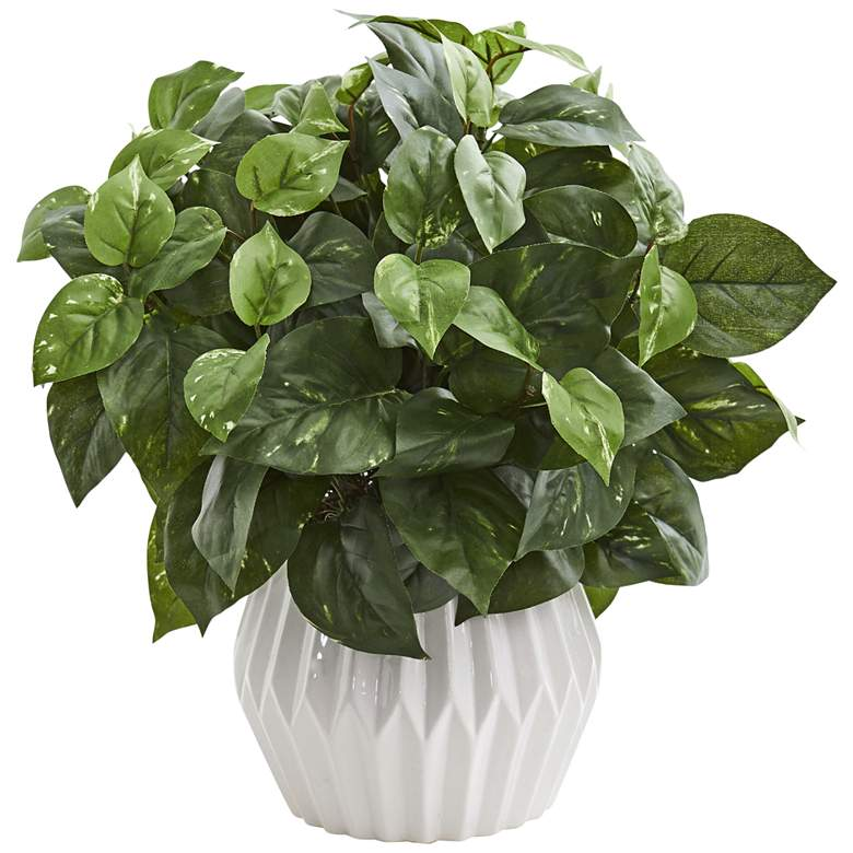 """Green Pothos 16"""" High Faux Plant in White"""